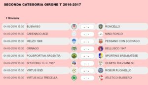 1 giornata Seconda categoria
