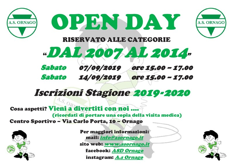 Open Day 2019 - Categorie dal 2007 al 2014 - Stagione 2019-2020